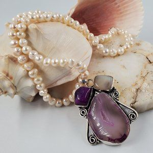Large Silver Pendant Silver Agate Pearls Necklace